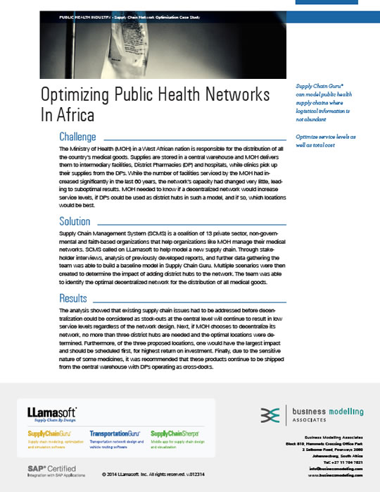 Optimising Public Health Networks in Africa Case Study