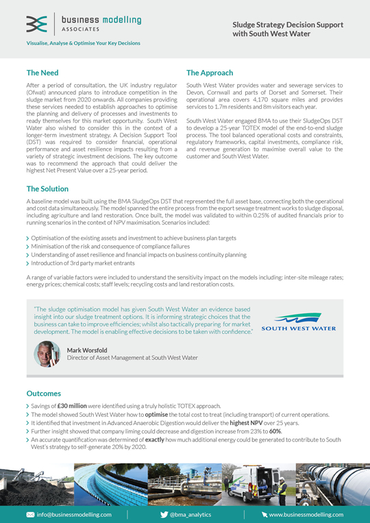 Sludge Strategy Decision Support with South West Water Case Study